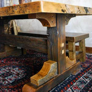 antique-wood-bench-dining-table-tribal-pattern-carpet